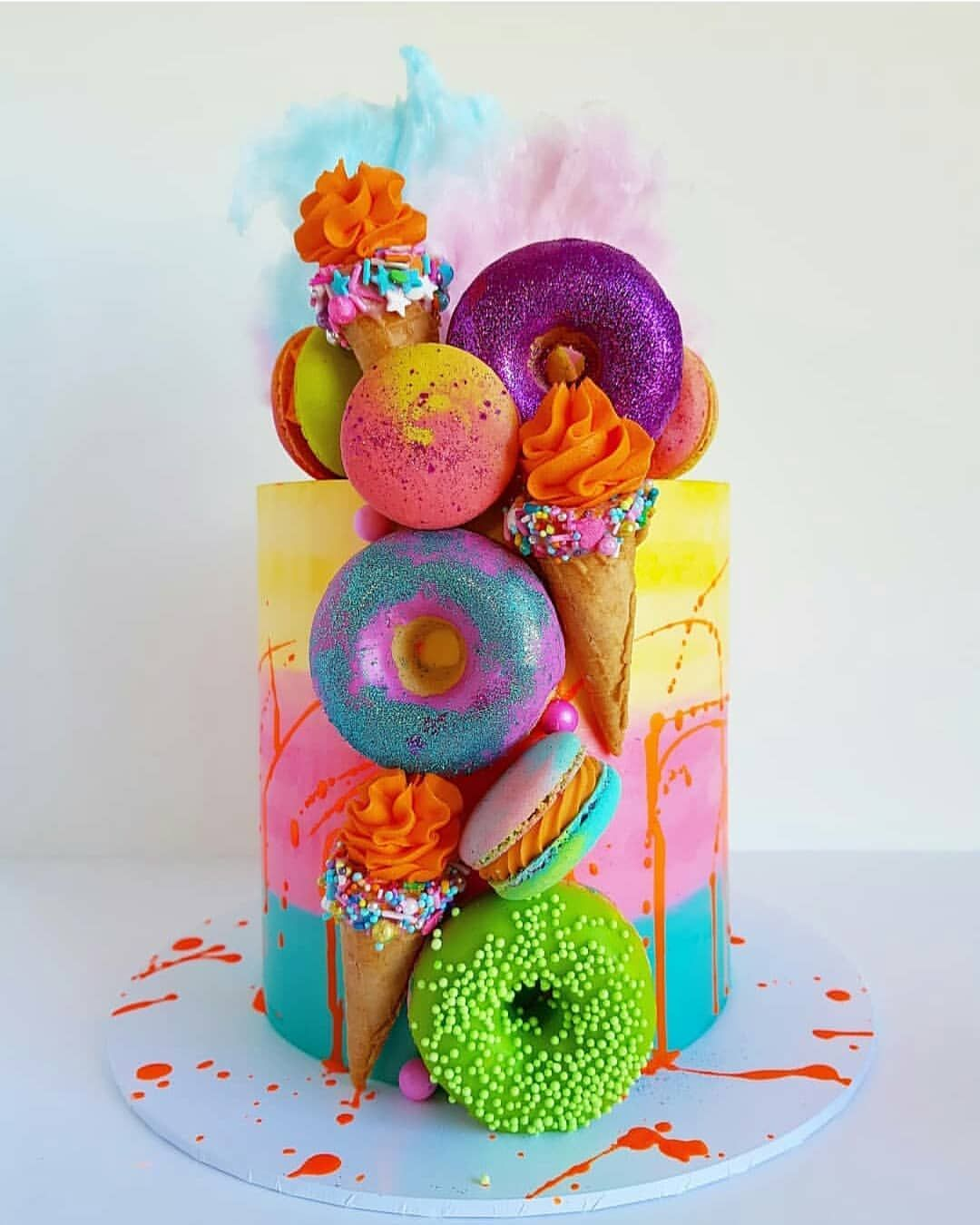 Stunning Cake From Sugarandsaltcookies Follow Sexycakes For More Cakeart Cakedecorating Cake Icing Sp Crazy Cakes Candyland Cake Neon Cakes