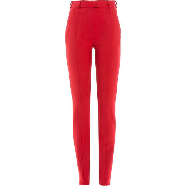 Carven Virgin Wool Pants (785 SAR) ❤ liked on Polyvore featuring pants, bottoms, carven, red, slim fit tapered pants, tapered pants, slim fit trousers, red pants and slim trousers