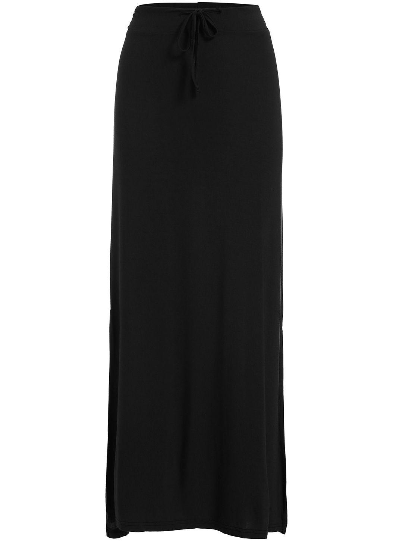 Black Drawstring Waist Split Modal Skirt 12.00 05e6d45d8746