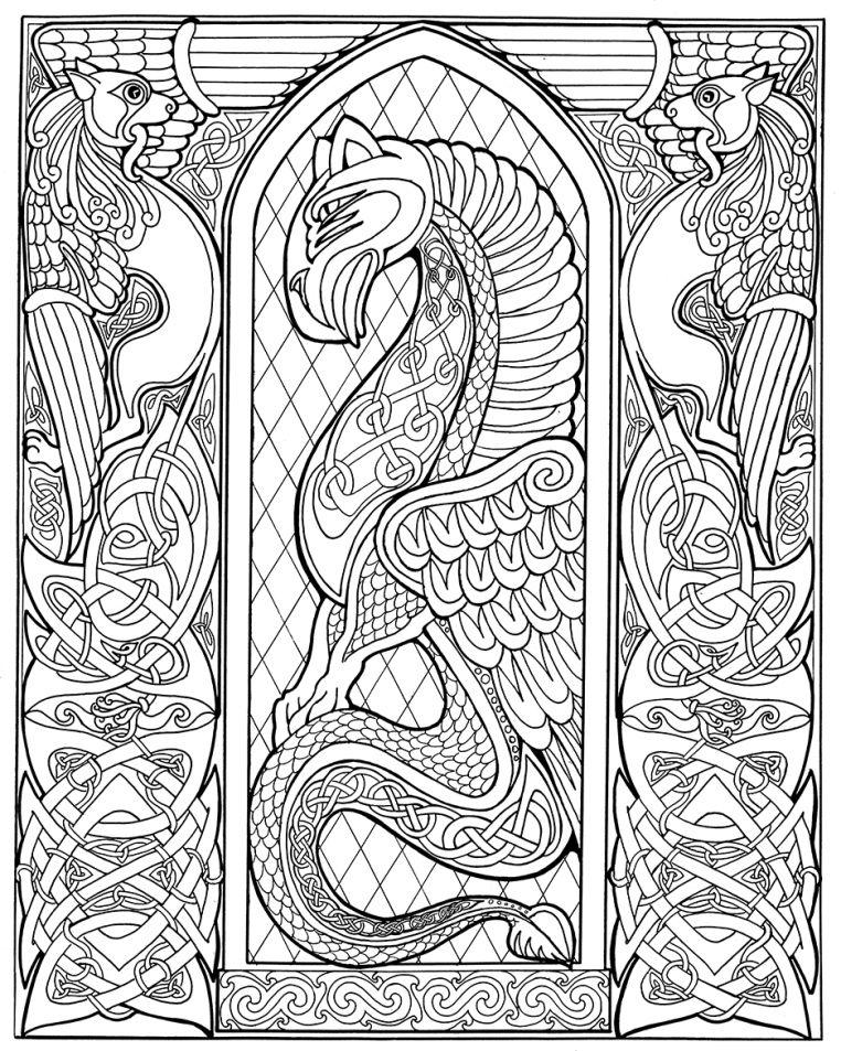 Celtic Dragon Outlinebwsm Celtic Coloring Celtic Dragon Celtic Designs