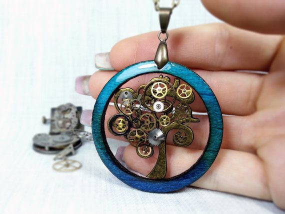 Turquoise blue ombre color steampunk tree wooden pendant necklace, tree of life, botanical steampunk jewelry, clockwork art
