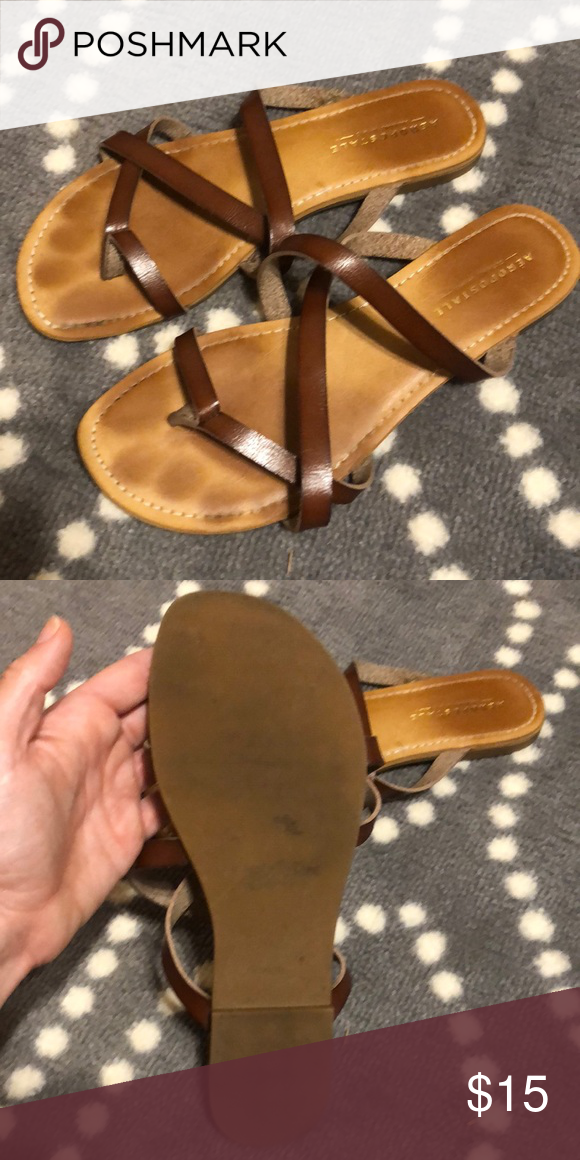 5ead89173a4764 Cute Brown strappy sandals GUC sandals. Super cute! Aeropostale Shoes  Sandals