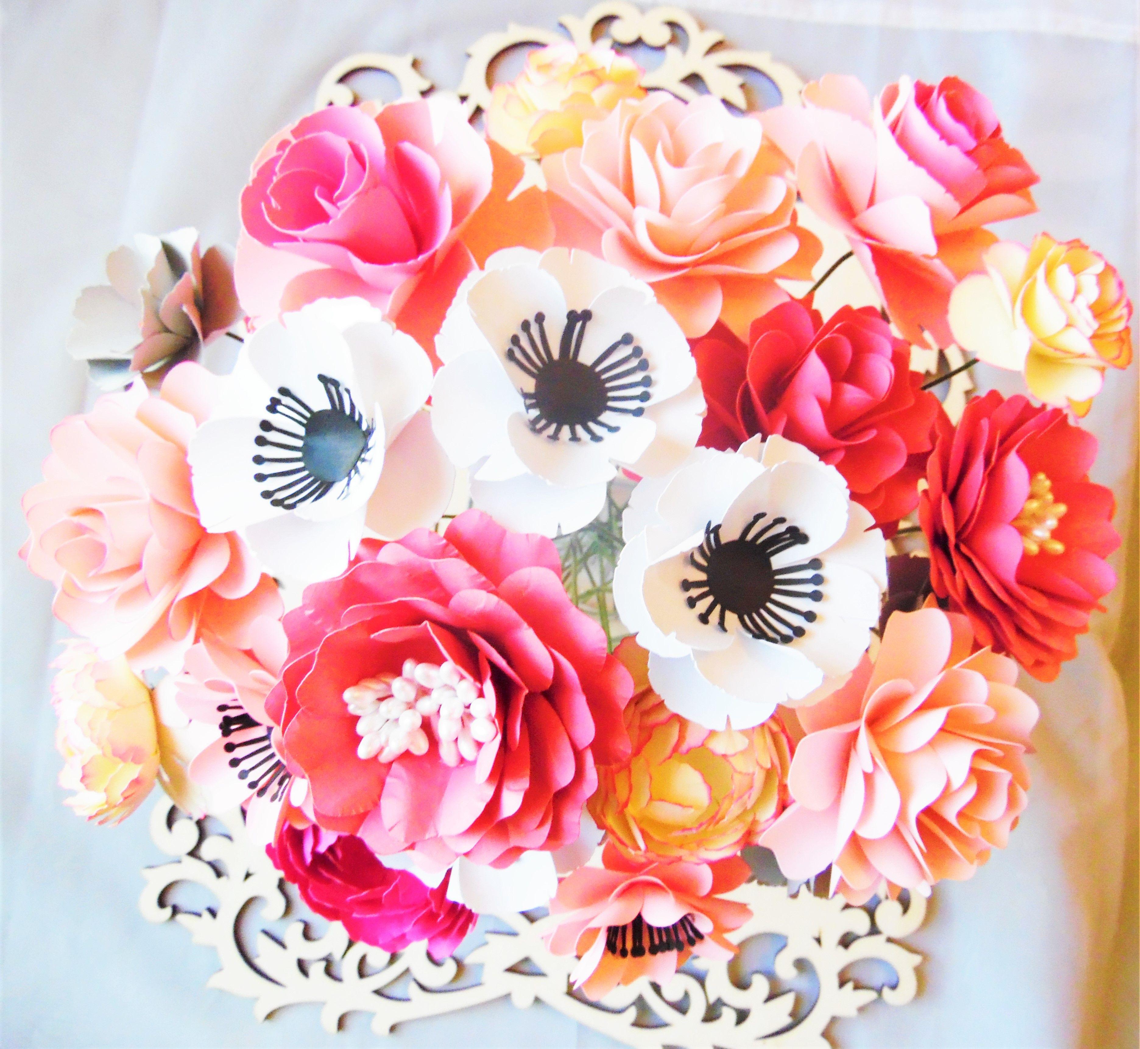 Paper Flower Template Diy Wedding Bouquet Kit Svg