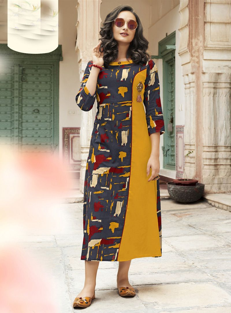 88dd32fea09 Shop Yellow Rayon Readymade Tunic 148829 online at best price from vast  collection of designer kurti at Indianclothstore.com.