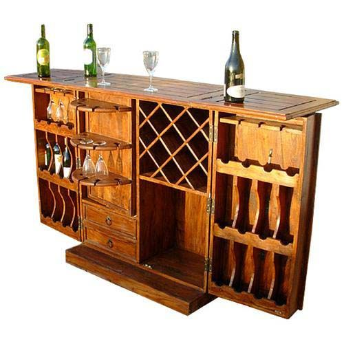 Raleigh Natural Solid Rosewood Traditional Hideaway Wine Bar ...