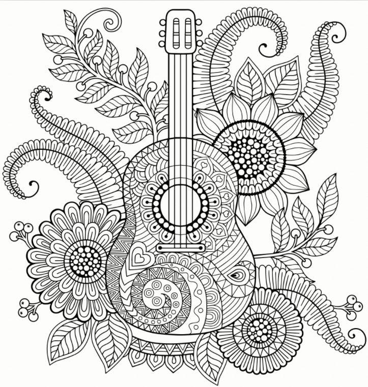 Guitar Zentangle colouring page Recolor app Mandala