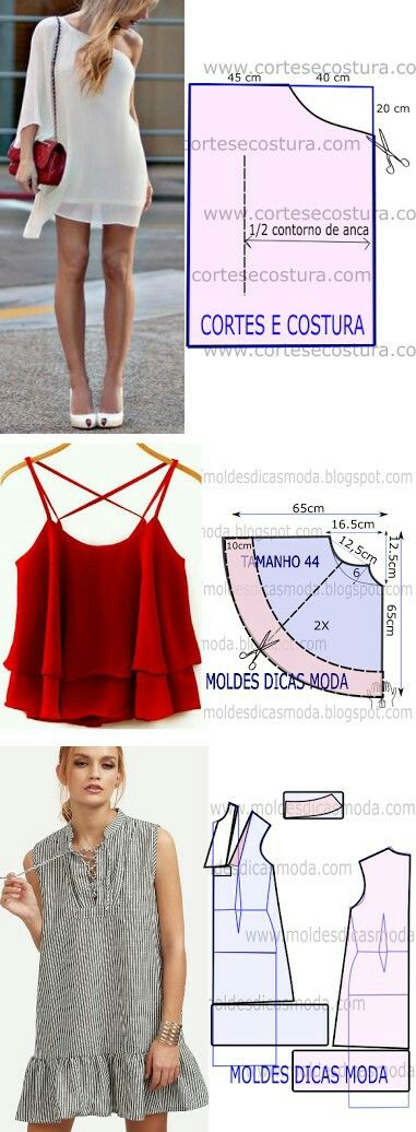 Moldes blusas | moldes | Pinterest | Molde, Blusas y Costura