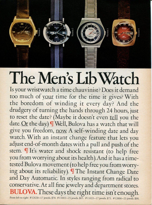 Amazon.com: 1973 BULOVA Men's Lib Watch Vintage Retro Original Ad: Everything Else
