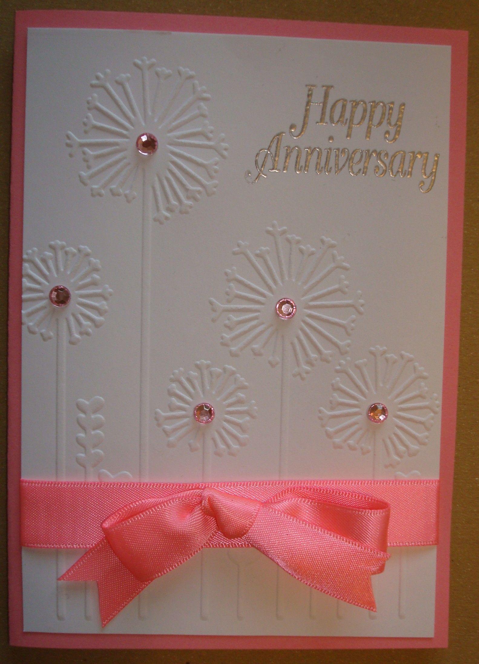 Superior Card Making Ideas Using Embossing Folders Part - 5: Hand Made Anniversary Card Using Dandelion Whisper Embossing Folder