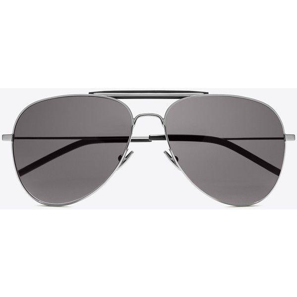7c67641b5c Saint Laurent Classic 11 Shooter Aviator Sunglasses ($365) ❤ liked ...