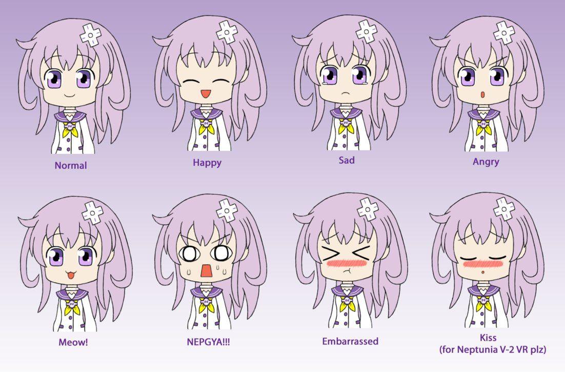 Hyperdimension Neptunia Nepgear Expression Sheet By Gaming123456 Expression Sheet Anime Chibi