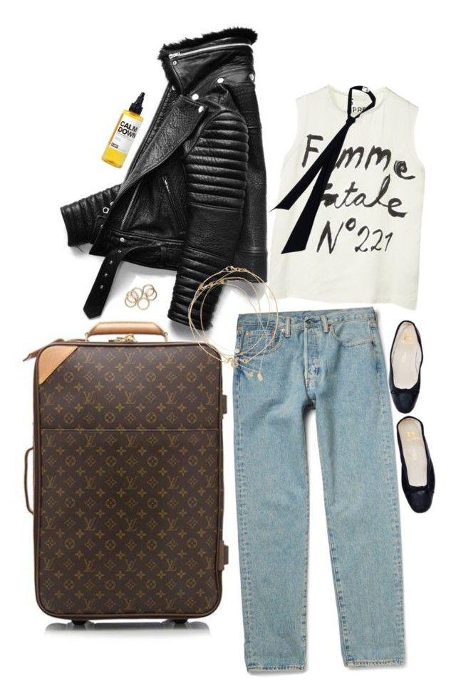 """airport look"" by honeylucy ❤ liked on Polyvore featuring Louis Vuitton, 5 Preview, PLANT, Kendra Scott, Daisy Knights, Loren Stewart, Ileana Makri, Devon Pavlovits and Yves Saint Laurent"