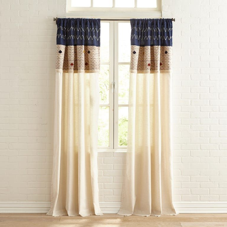 Embroidered Woven 84 Curtain With Pompoms In 2020 Curtains Cabin Curtains 84 Curtains