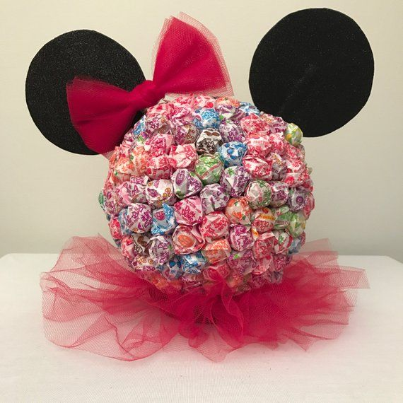 Minnie Mouse Dum Dums Centerpiece – Disney, Candy Table, Dum Dum, Candy, Party, Birthday Party