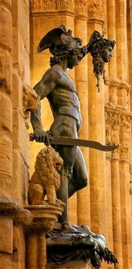 Perseus, son of Danae (daughter of the King of Argos) is famed in Greek mythology for defeating (beheading Medusa) and freeing Andromeda from a sea monster or Titan released by the god Poseidon.