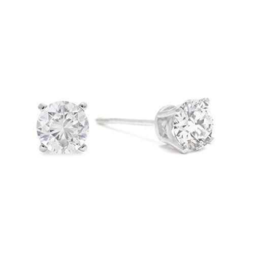 Diamond Earrings Design 12 Cttw 14k White Gold Round Diamond Stud Earrings Ags Certif Stud Earrings Diamond Earrings Studs Round 14k White Gold Stud Earrings