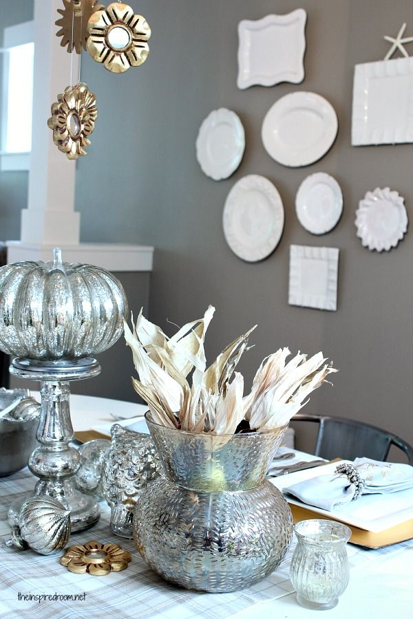 Silver And Gold Holiday Table Decor