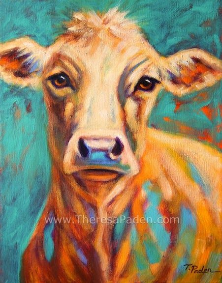 Expressive Cow Painting Farm Animal Art By Theresa Paden Cow
