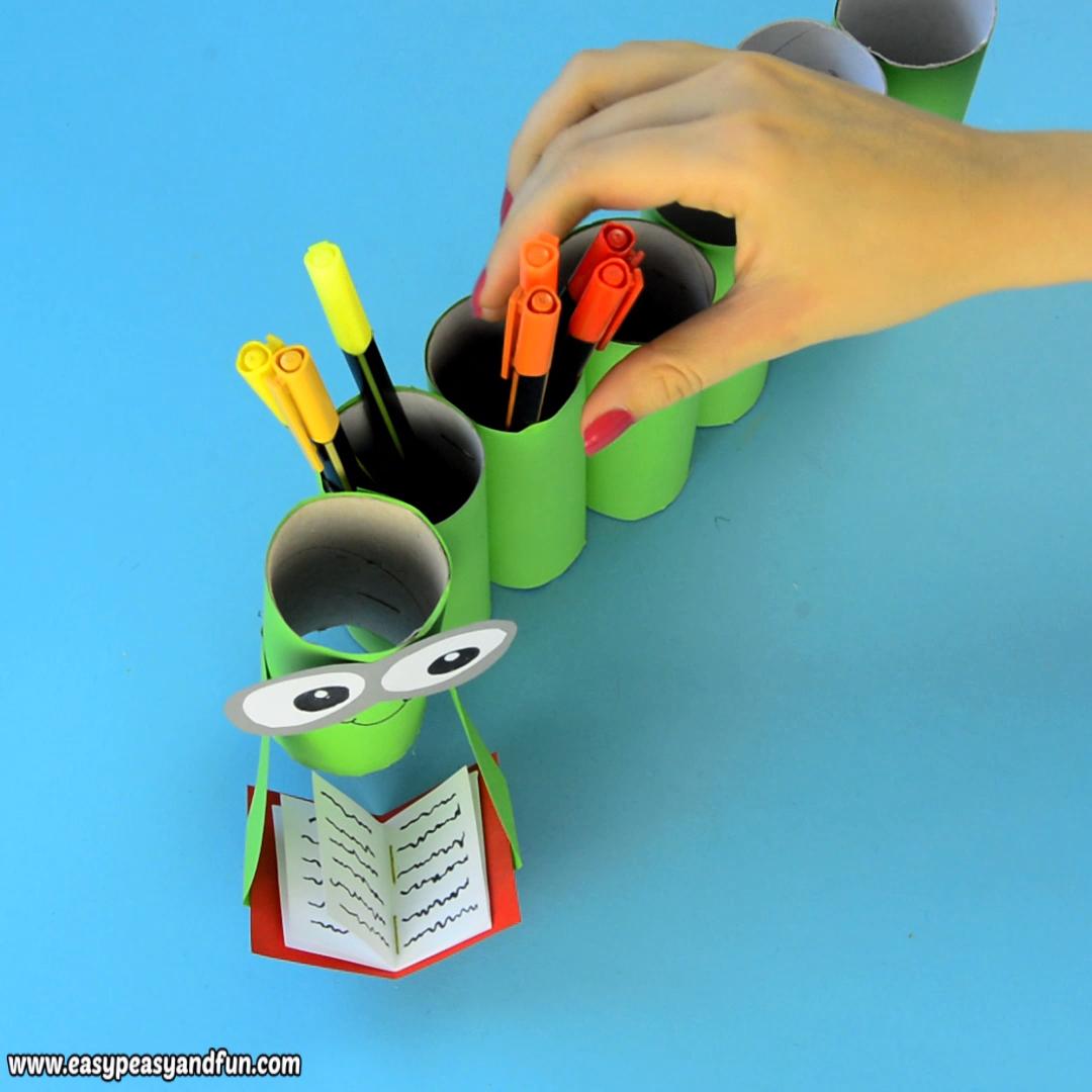 DIY Bookworm Paper Roll Pencil Holder Craft for Kids #