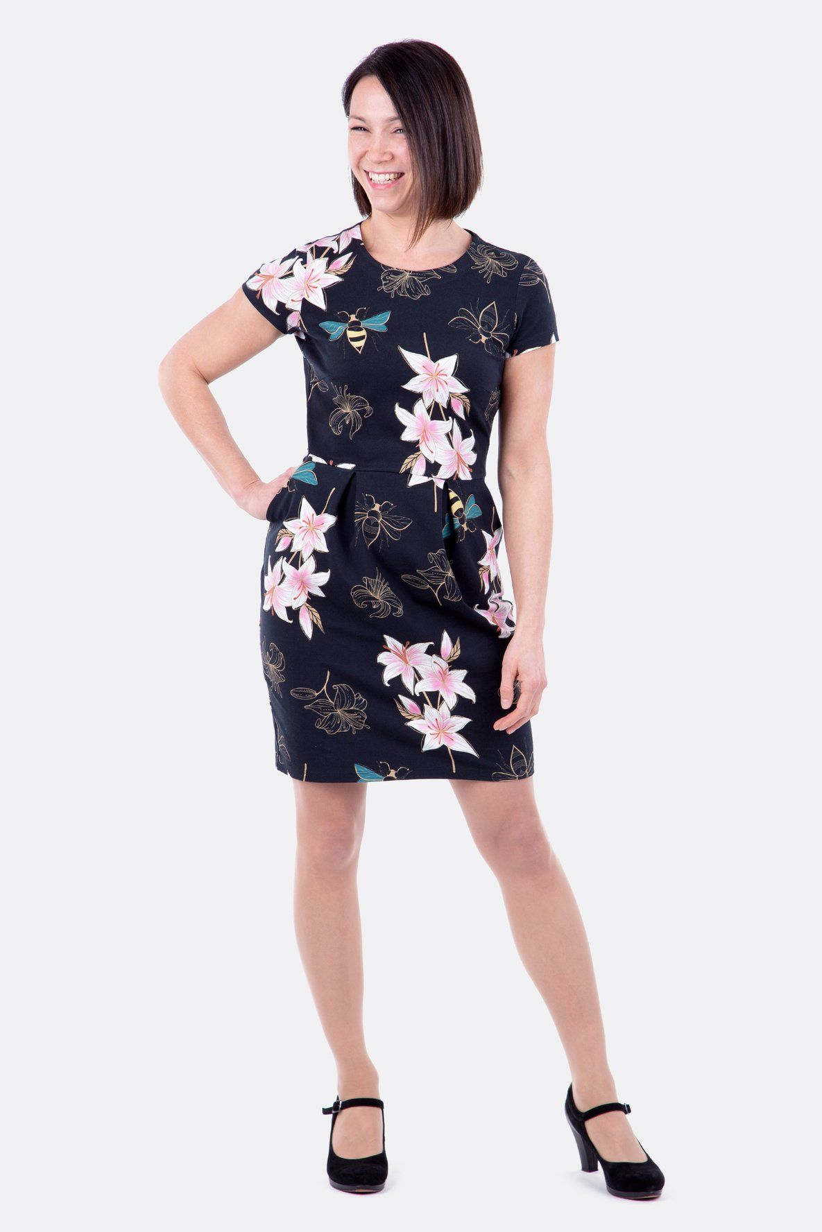 schnittmuster kleid tulpenrock stoff jersey lily