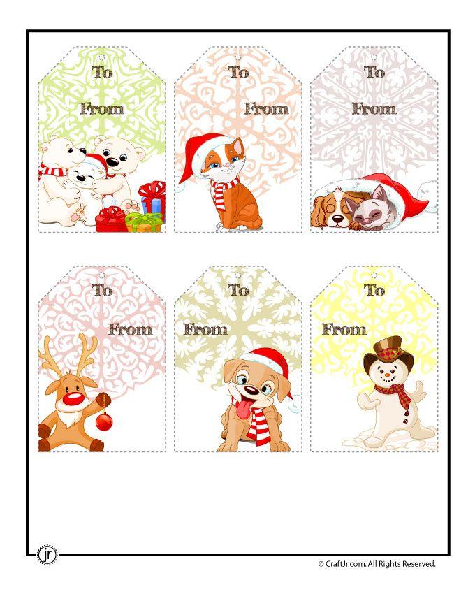Printable Christmas Tags Cute Characters Christmas Tags