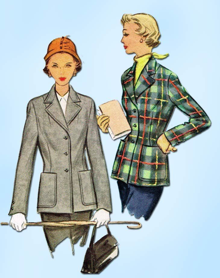 1950s Vintage McCalls Sewing Pattern 8400 Uncut Misses Blazer Jacket ...