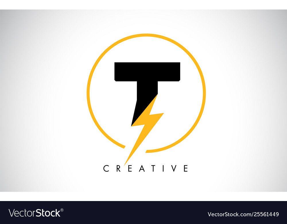 T Letter Logo Design With Lighting Thunder Bolt Vector Image