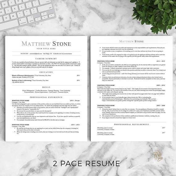 Professional Resume Template for Word, Pages and OpenOffice The - openoffice resume template