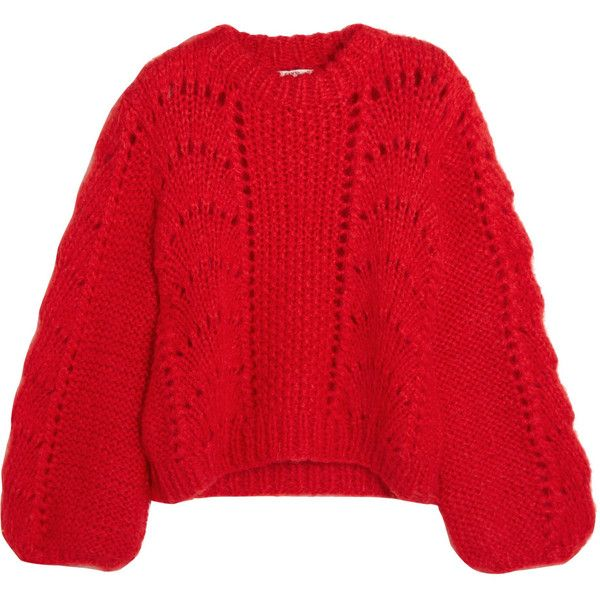 GANNI Julliard mohair and wool-blend sweater (522 AUD) ❤ liked on Polyvore featuring tops, sweaters, red, wool blend sweater, ganni, red sweater, mohair sweater and red top
