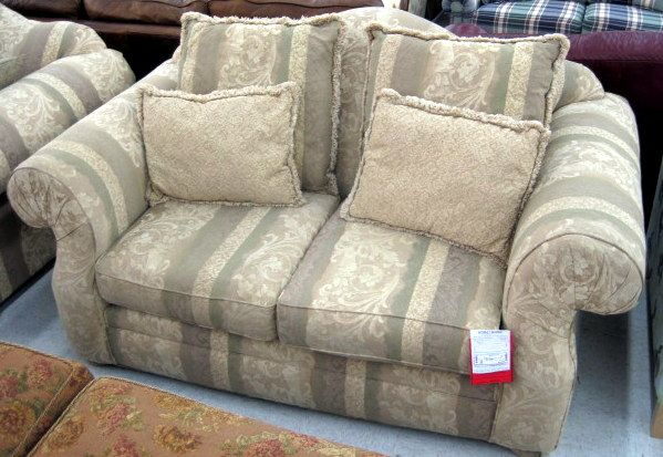 72 X 42 X 39 Beige Fabric Loveseat With Arched Top Camelback And Rolled Arms Bun Feet Fabric Wrapped Throw Pillows Included Love Seat Throw Pillows Couch