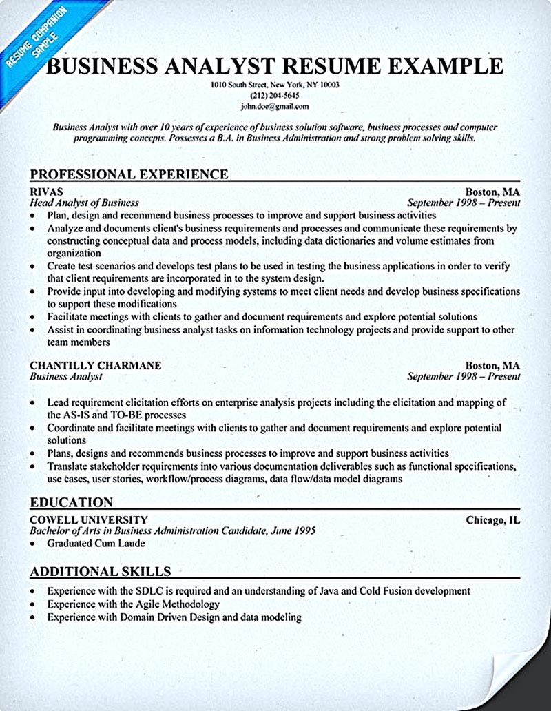 business analyst resume describes the skills and expertise