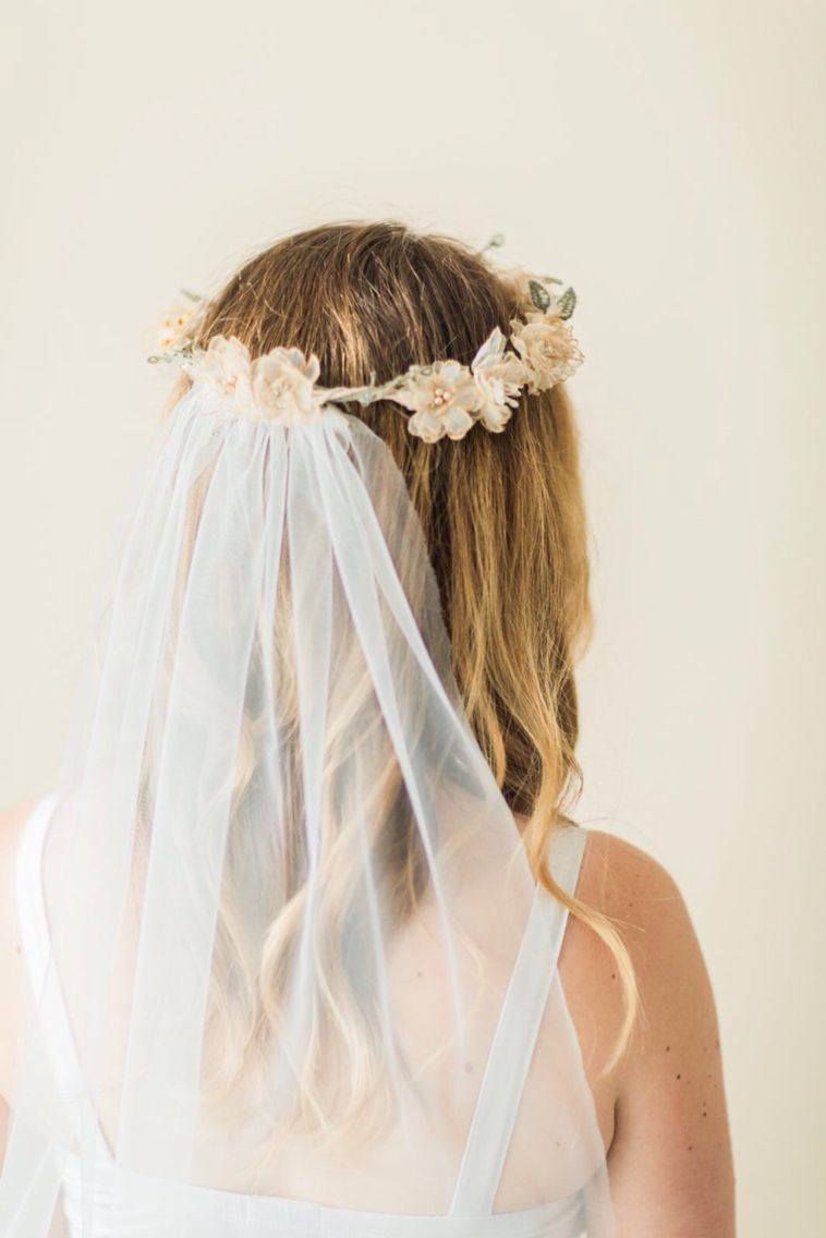 Vintage Gold Silk Flower Crown With Veil Hand Crafted By Kate