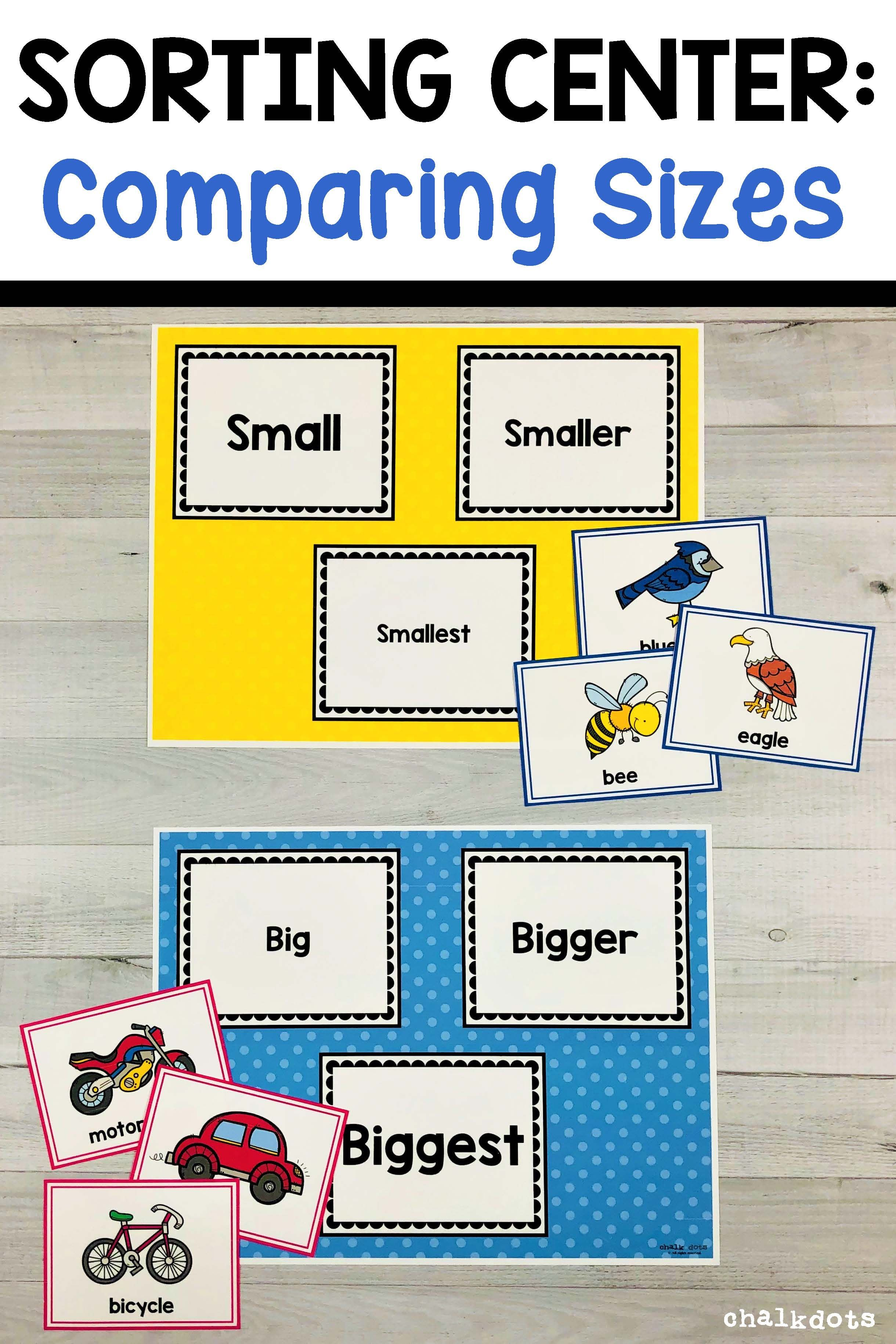 Comparing Sizes - Sorting Activity   Preschool math lessons [ 3660 x 2440 Pixel ]