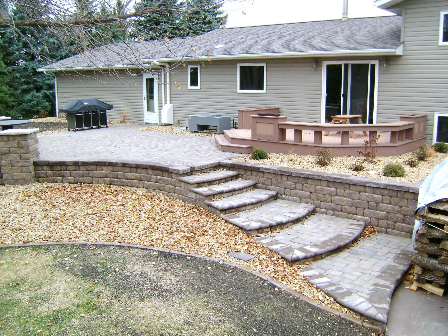 Paver Retaining Wall, Raised Patio And Deck