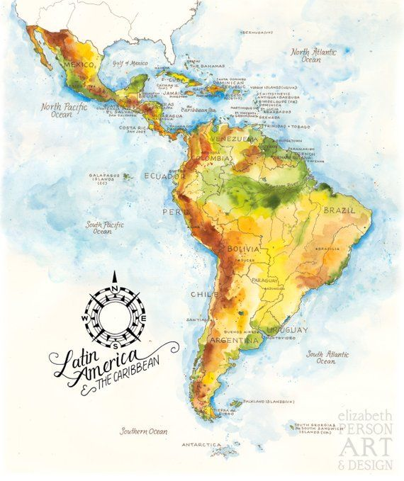 Latin America & the Caribbean Map Watercolor Illustration South ...