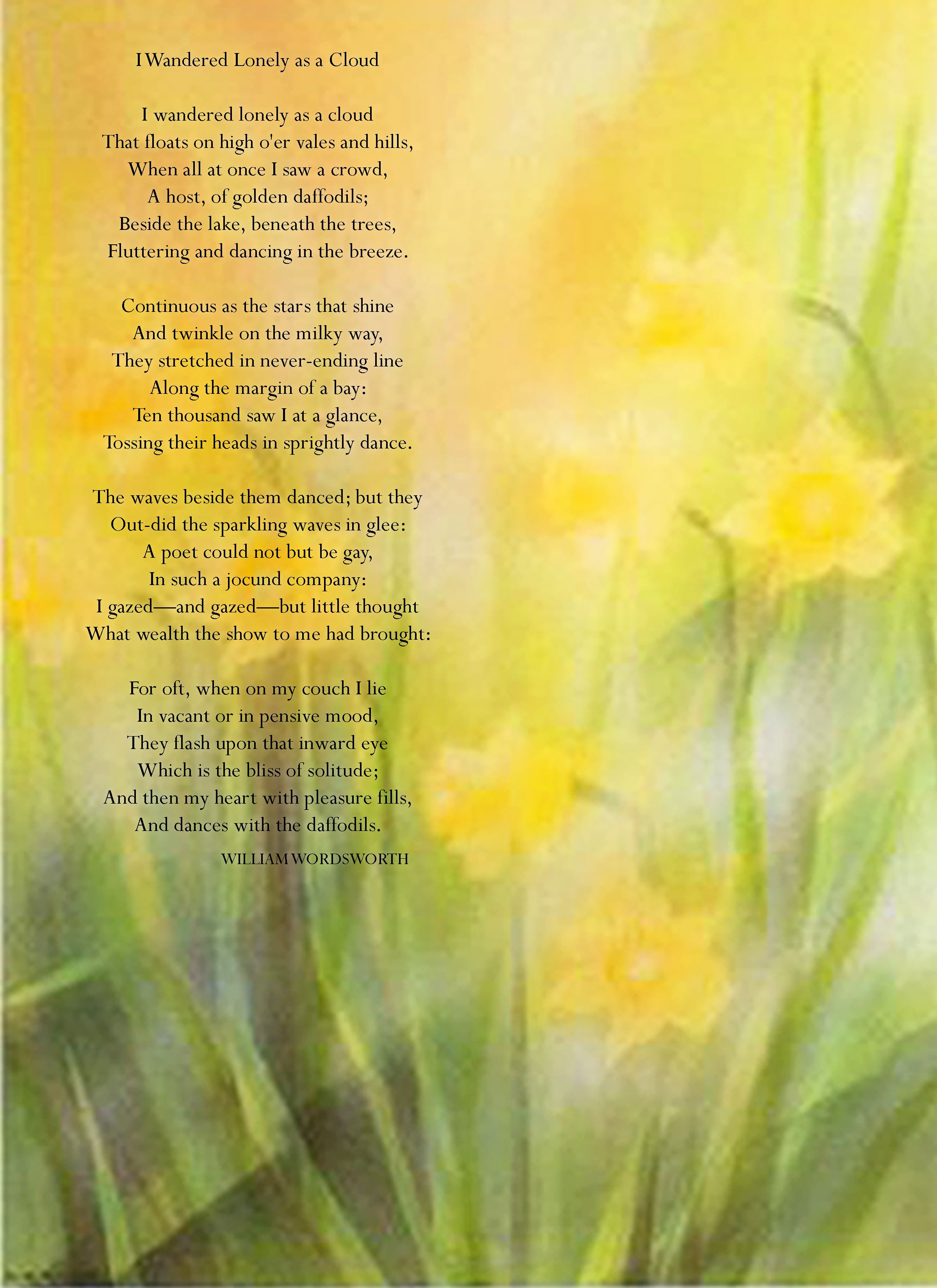 Spring Poem 60 Best And For Kid Poems I Wandered Lonely A Cloud Analysis Analysi