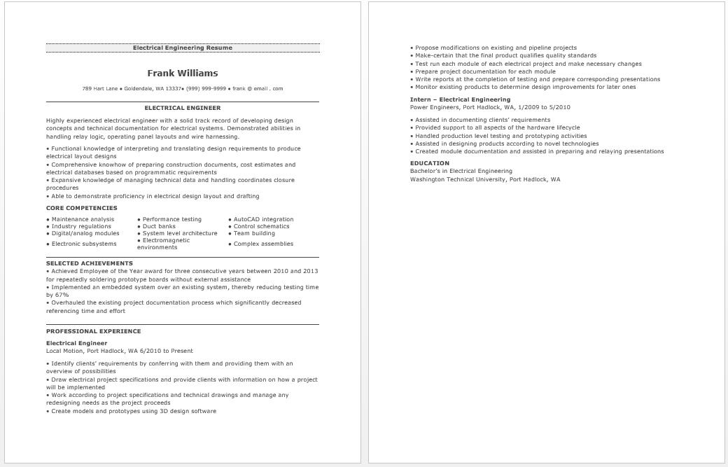 Electrical Engineering Resume  Resume  Job