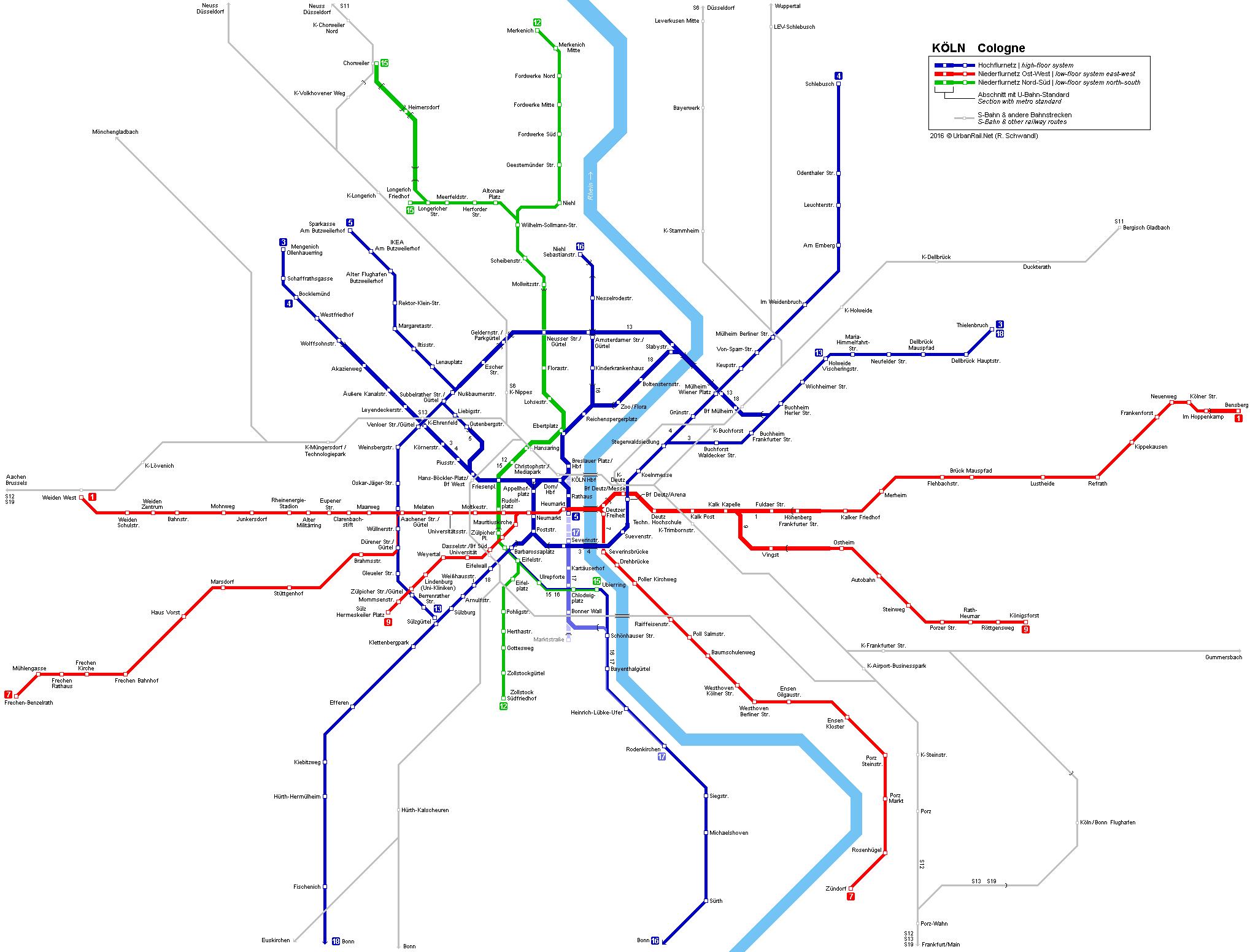 Kln Stadtbahn Netzplan Light Rail Map R Schwandl metro maps
