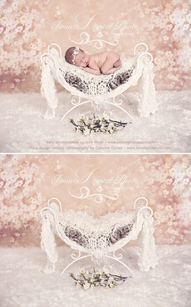 Iron Bed Chair With Flower Background Beautiful Digital Backdrops Newborn Photography Props
