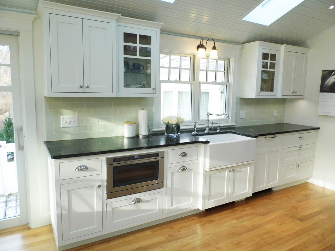 Pond View | Kurzhaus Designs, Inc. custom Kitchen, BM White Dove Shaker Cabinets, SoapStone