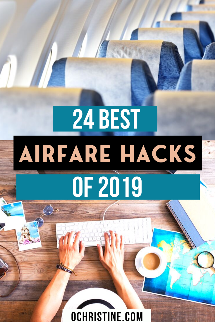 Are you always looking for the cheapest flights? Sharing my 24 Airfare Hacks for Finding the Best Fares and Cheap Flight Deals in 2019. I've  compiled an epic list of airfare best practices, affordable flight tips, and budget travel advice to help you get great flight deals this year. #cheapflights #travelhack  Travel Hacking | Flight Hacking | How to find cheap flights | Best Airfare hacks | Cheap Airfare |