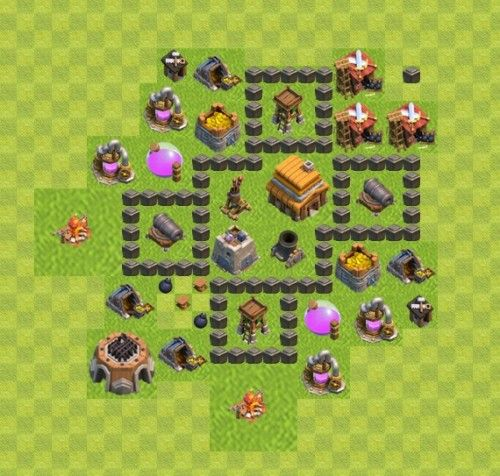 Base Coc Th 4 War 2
