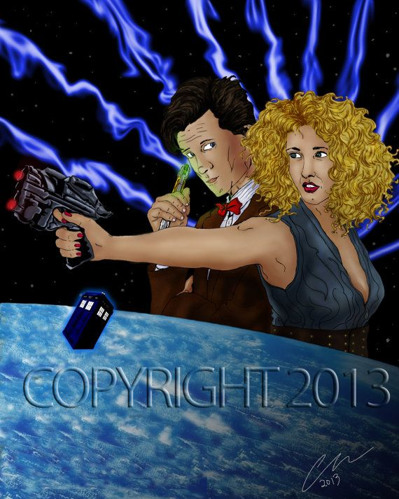 Doctor Who Doctor and River Song print by BlueBoxIllustration, $18.00