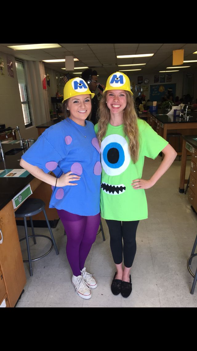 Monsters Inc Mike Sully Diy Outfit Duo Halloween Costumes Halloween Costumes Friends Sully Costume