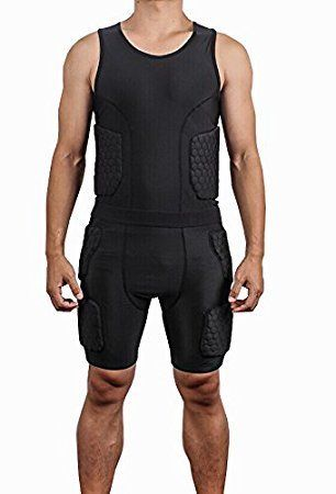 e533758a259b1 Amazon.com   DGXINJUN Men s Safe Guard Padded Compression Sports Protective  Shirt Training Vest Tank Top Rib Protector Suit for Football Basketball ...