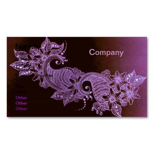 Violet Henna Mehndi Floral Business Card Floral Business Cards Henna Mehndi Henna