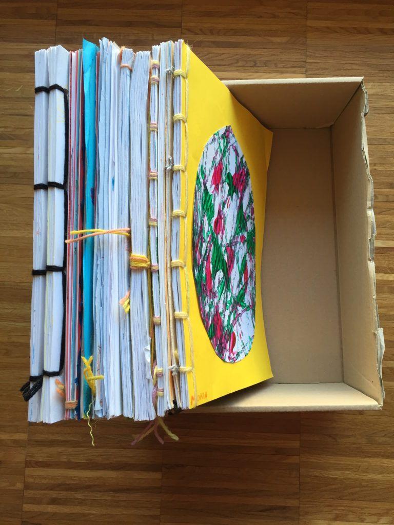Kinderzeichnungen zu Büchern binden – Buntraum
