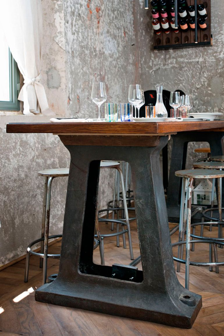 awesome industrial dinner table mixed with farmhouse style walls ...