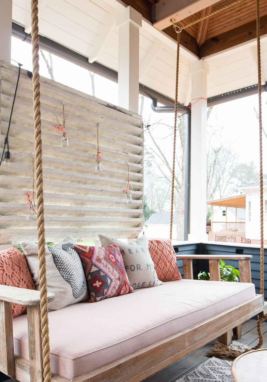 Cool 70 relaxing farmhouse porch swing design ideas https