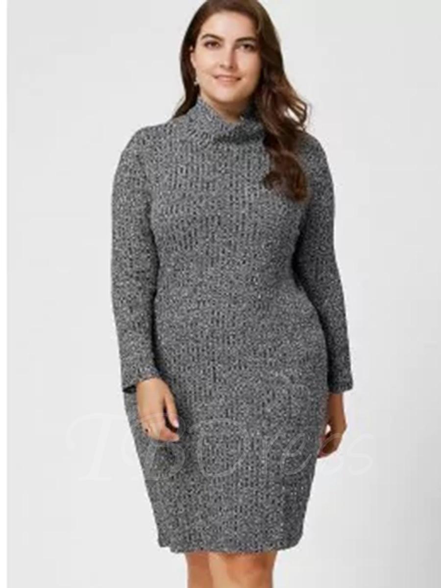 Tbdress tbdress gray plus size turtle neck womens sweater dress
